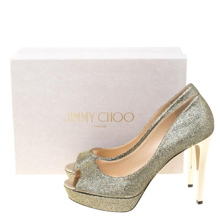 Jimmy Choo Light Bronze Lamè Glitter Fabric Dahlia Platform Peep Toe Pumps 42 For Sale 4