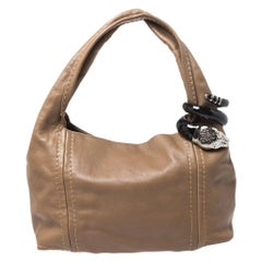 Jimmy Choo Light Brown Leather Saba Hobo Bag