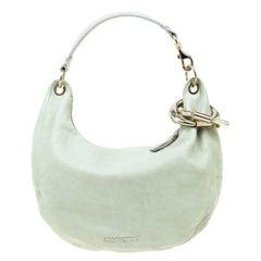 Jimmy Choo Light Grey Leather Small Solar Hobo Bag