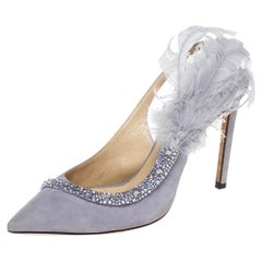 Jimmy Choo Lilac Suede Feather And Crystal Tacey Slingback Pumps Size 38