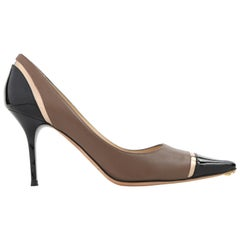 "JIMMY CHOO ""Lilo"" Taupe Nappa Leather Tri-Color Pointed Cap Toe Pumps NIB"