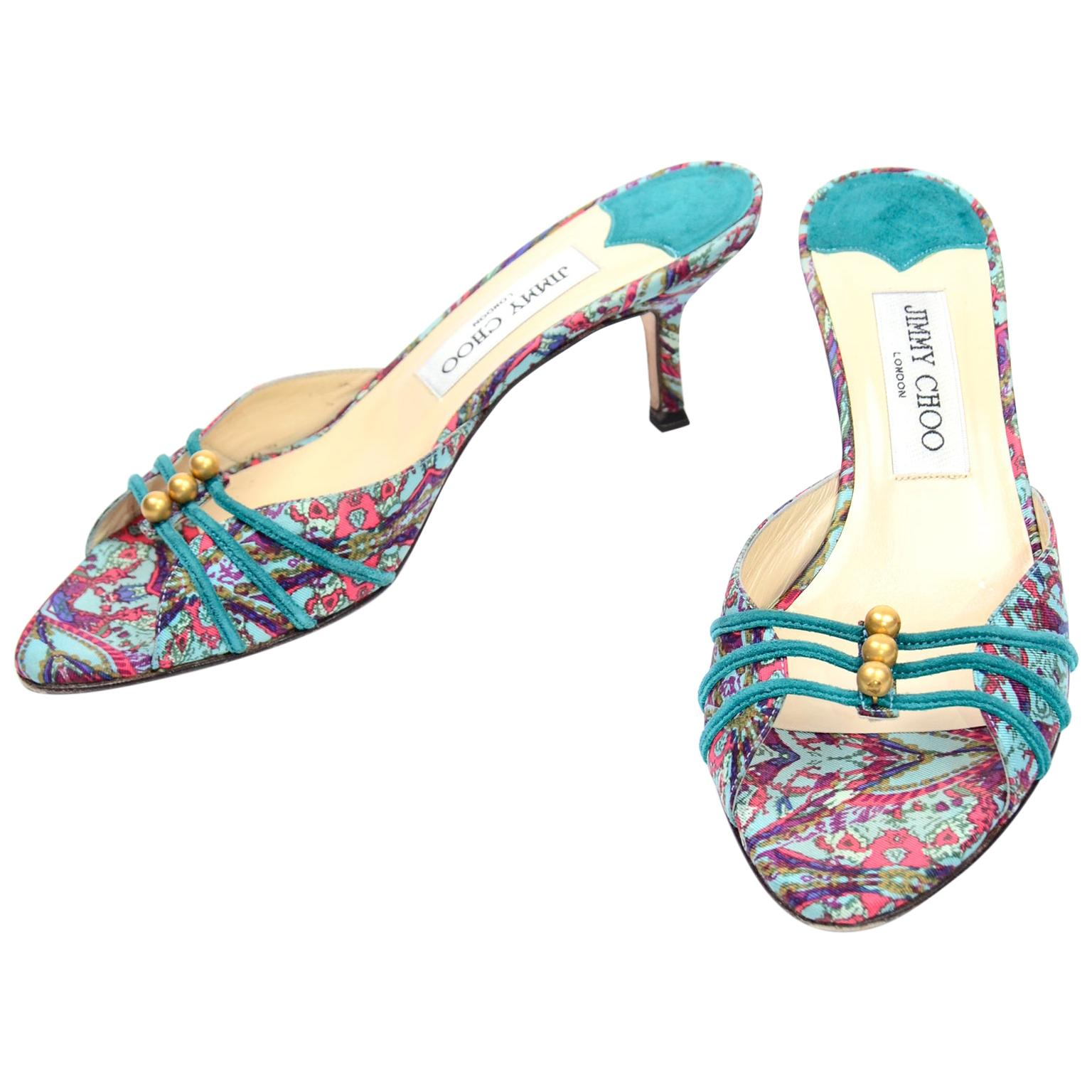 Jimmy Choo London Colorful Mules Shoes in Turquoise Print W Heels & Gold Beads