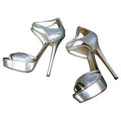 Jimmy Choo London Silver Metallic Platform Stiletto Strap Shoes Size 38 c 1990s