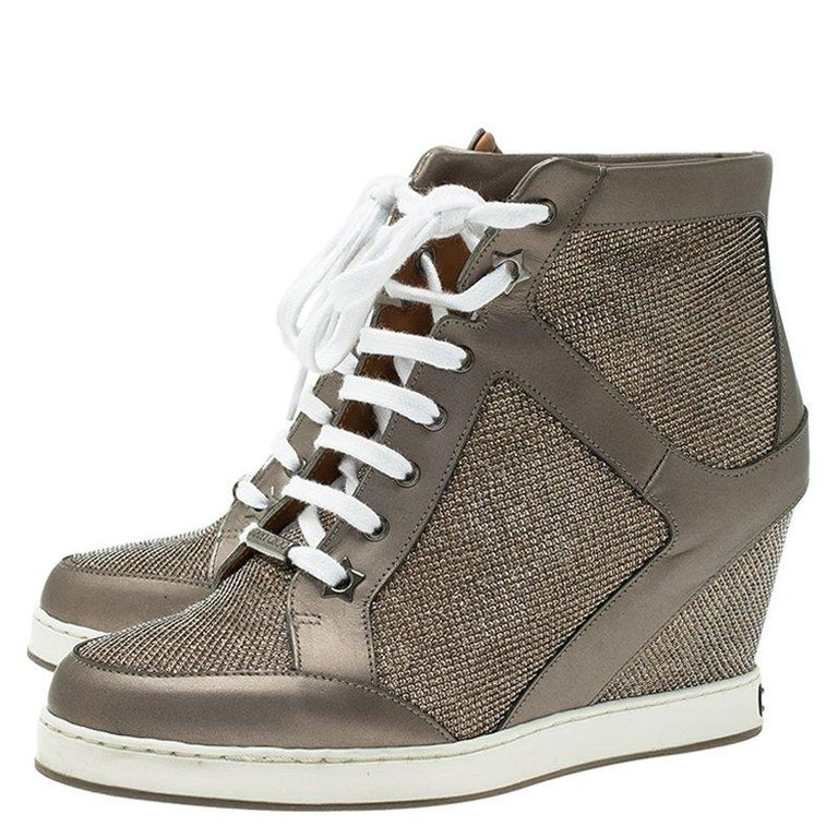 af4c317e39be Jimmy Choo Macaroon Lame Glitter   Metallic Leather Preston Panama Wedge  Sneaker For Sale 5
