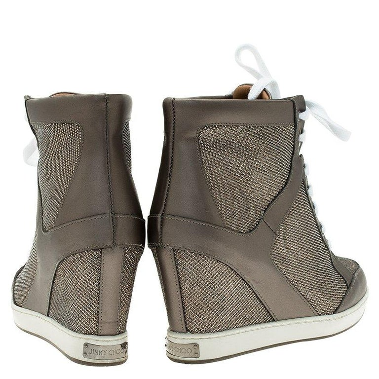 f032870c7ee8 Gray Jimmy Choo Macaroon Lame Glitter   Metallic Leather Preston Panama Wedge  Sneaker For Sale