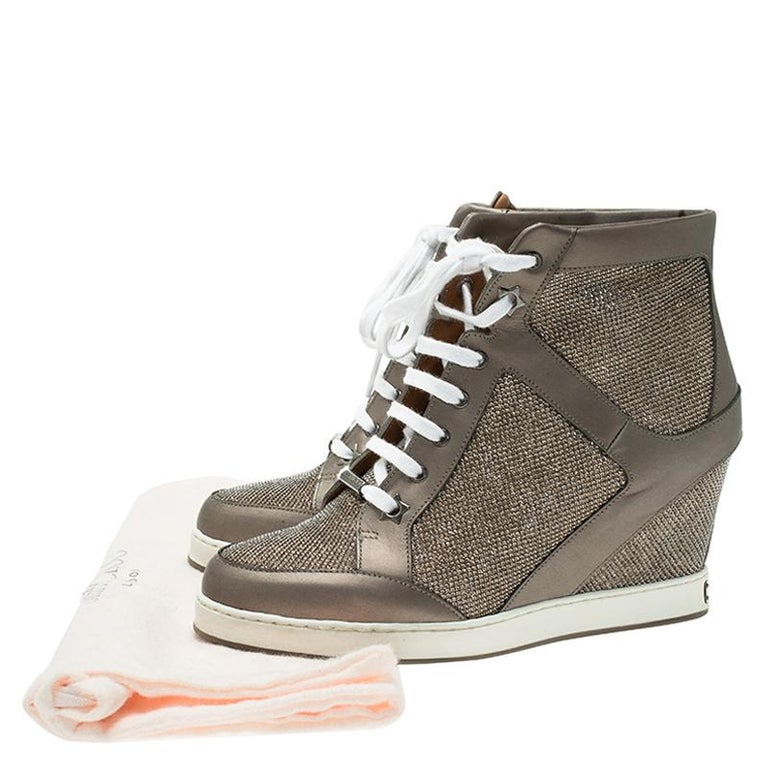 1dc518a52c7d Women s Jimmy Choo Macaroon Lame Glitter   Metallic Leather Preston Panama Wedge  Sneaker For Sale
