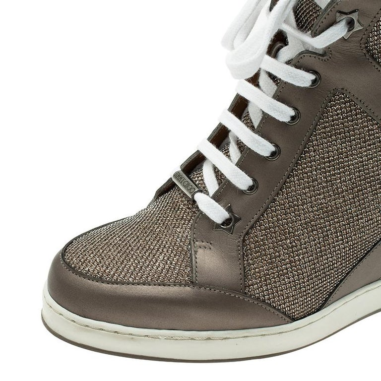 1b7c130c7bc8 Jimmy Choo Macaroon Lame Glitter   Metallic Leather Preston Panama Wedge  Sneaker For Sale 3