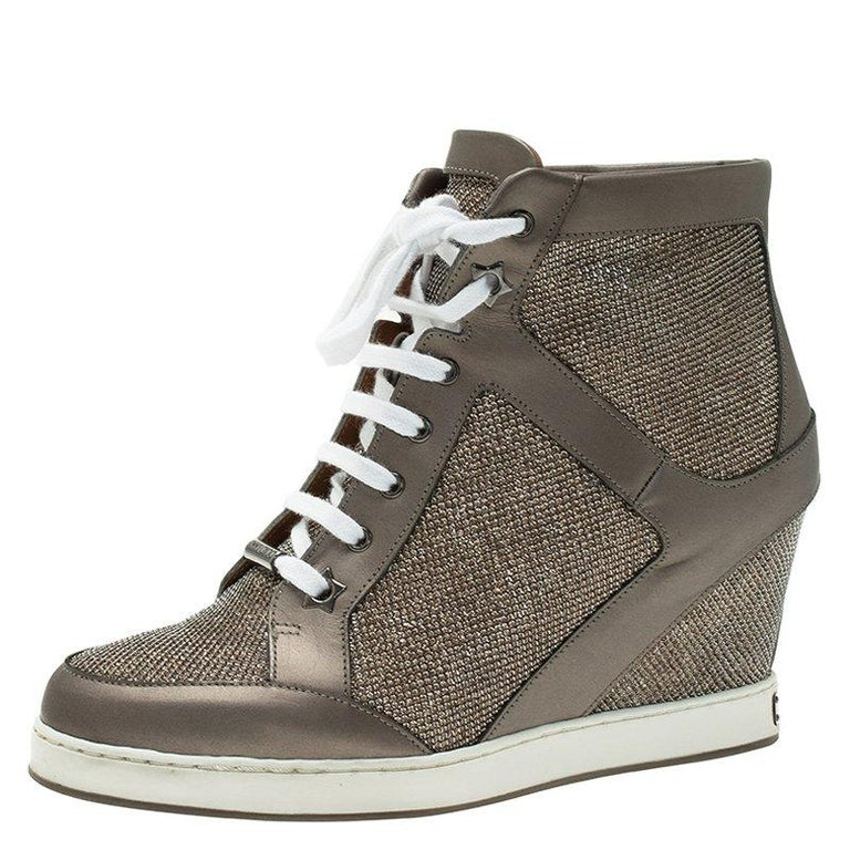 aa392b5fc80a Jimmy Choo Macaroon Lame Glitter   Metallic Leather Preston Panama Wedge  Sneaker For Sale