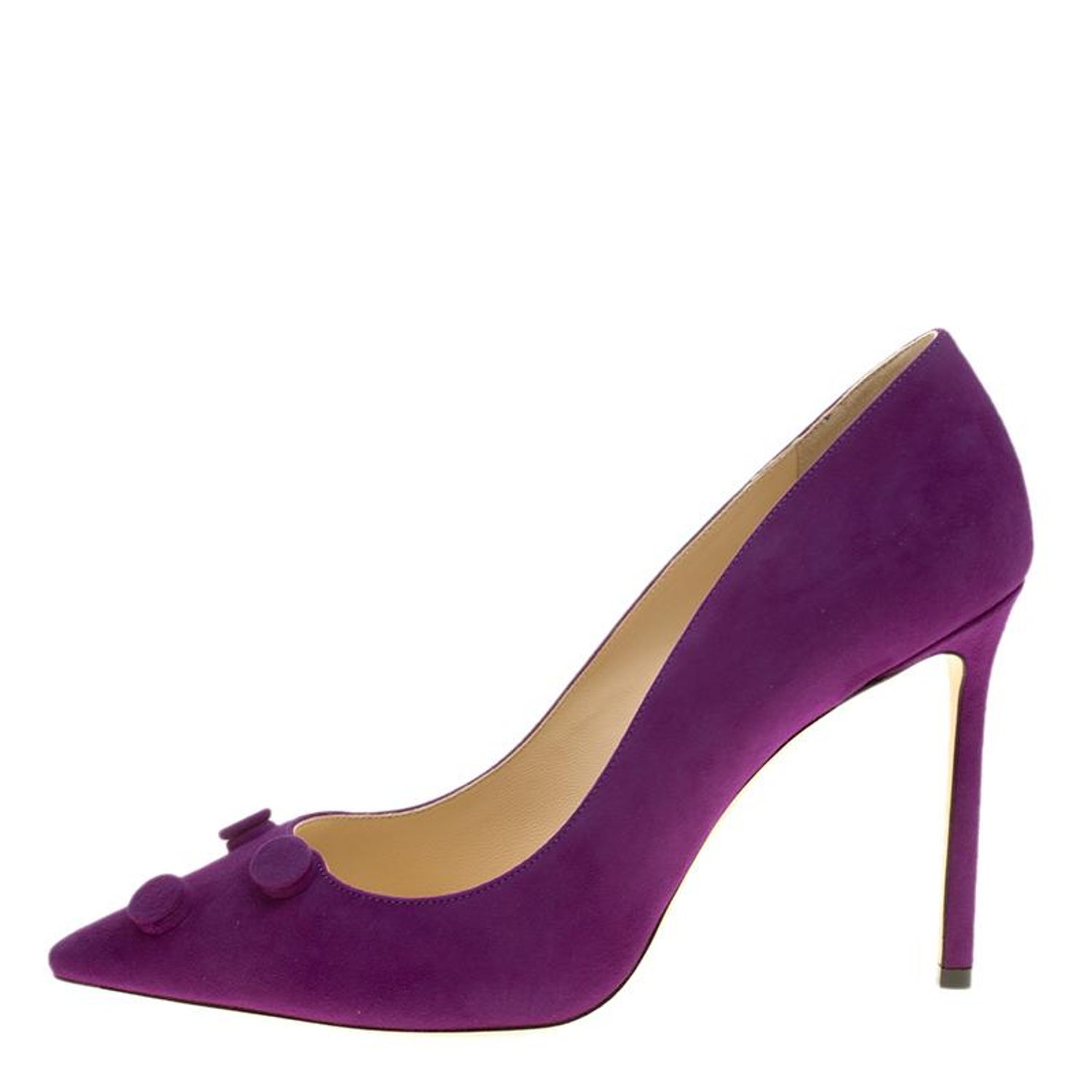 6d2976d421a Jimmy Choo Madeline Purple Suede Jasmine Button Embellished Pointed Toe  Pumps Si For Sale at 1stdibs