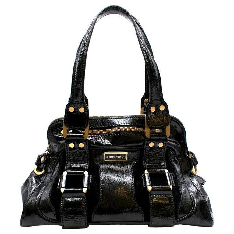 Jimmy Choo Malena Black Patent Leather Handbag For Sale