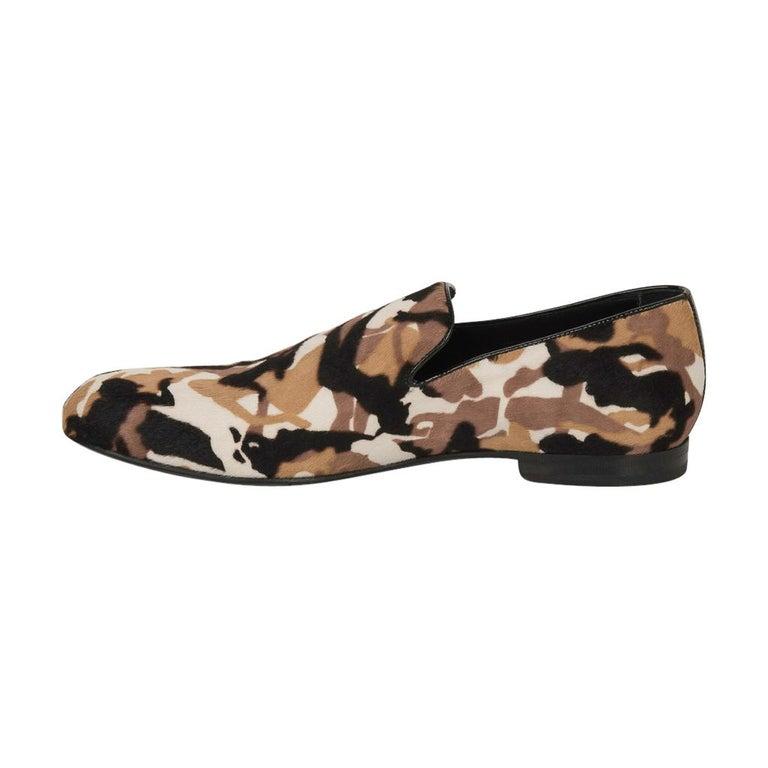 Black Jimmy Choo Men's Sloane Camouflage Printed Calf Hair Loafer 43 / 10   For Sale