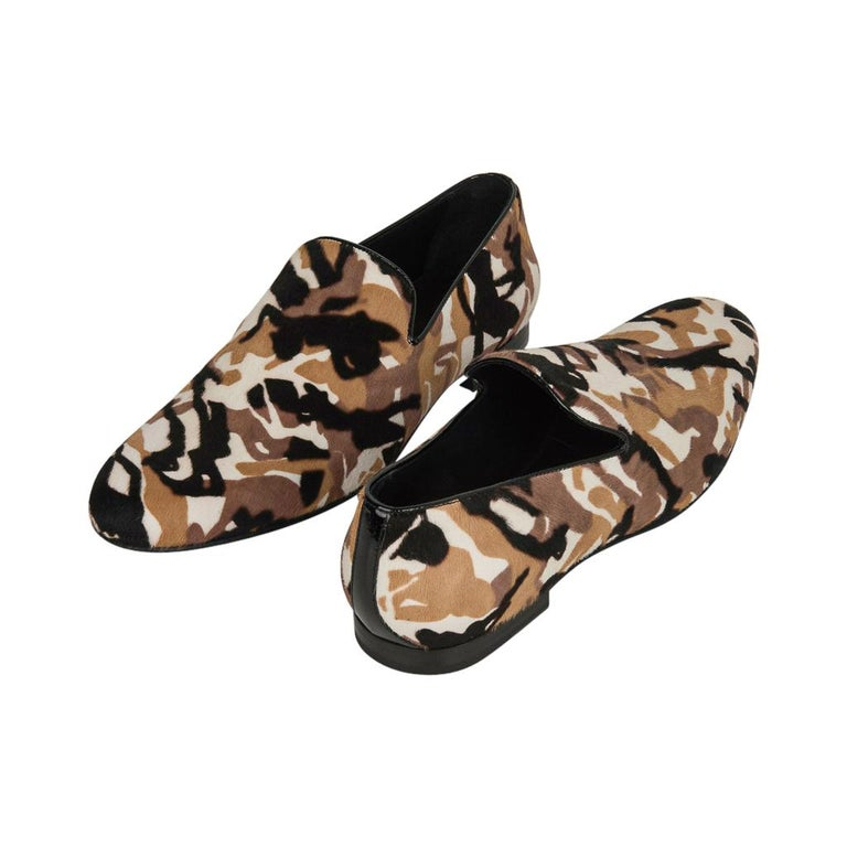 Jimmy Choo Men's Sloane Camouflage Printed Calf Hair Loafer 43 / 10   In New Condition For Sale In Miami, FL