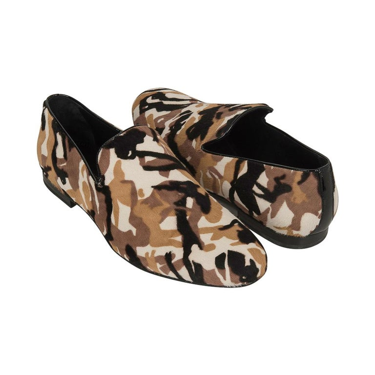 Jimmy Choo Men's Sloane Camouflage Printed Calf Hair Loafer 43 / 10   For Sale 2