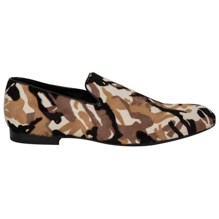 Jimmy Choo Men's Sloane Camouflage Printed Calf Hair Loafer 43 / 10   For Sale