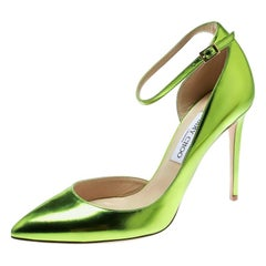 Jimmy Choo Metallic Apple Green Leather Rosa Ankle Strap D'orsay Pumps Size 41