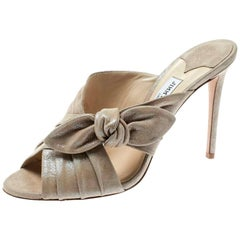 Jimmy Choo Metallic Beige Textured Suede Keely Knotted Bow Peep Toe Slides 41