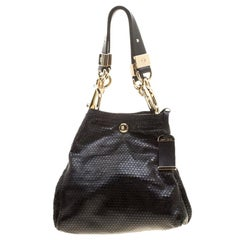 Jimmy Choo Metallic Black Leather Lohla Jayne Tote