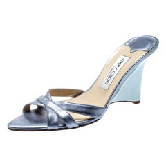 Jimmy Choo Metallic Blue Leather Cross Strap Wedge Sandals Size 38