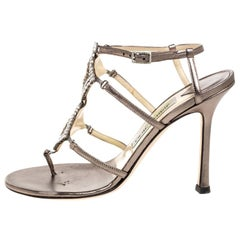 Jimmy Choo Metallic Bronze Leather Meira Crystal Embellished Sandals Size 37