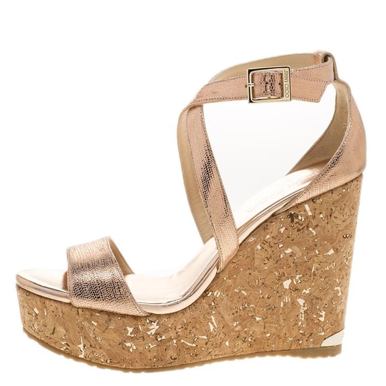 5c4c0927991 Jimmy Choo Metallic Bronze Suede Portia Cork Wedge Cross Strap Sandals Size  39 For Sale at 1stdibs