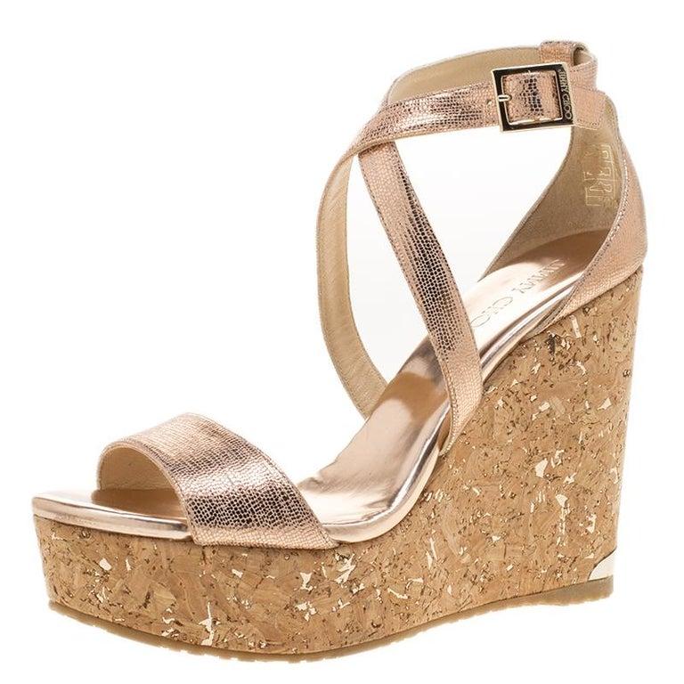af9fe6ef580b Jimmy Choo Metallic Bronze Suede Portia Cork Wedge Cross Strap Sandals Size  39 For Sale at 1stdibs