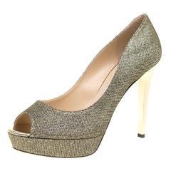 Jimmy Choo Metallic Champagne Glitter Dahlia Peep Toe Platform Pumps Size 42