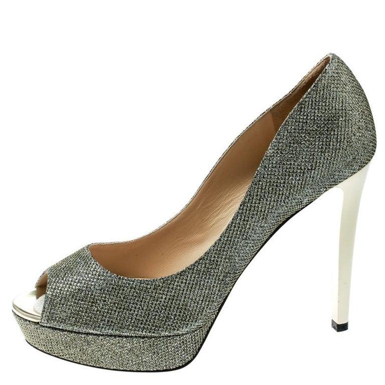 Women's Jimmy Choo Metallic Champagne Glitter Fabric Dahlia Peep Toe Platform Pumps 41.5 For Sale