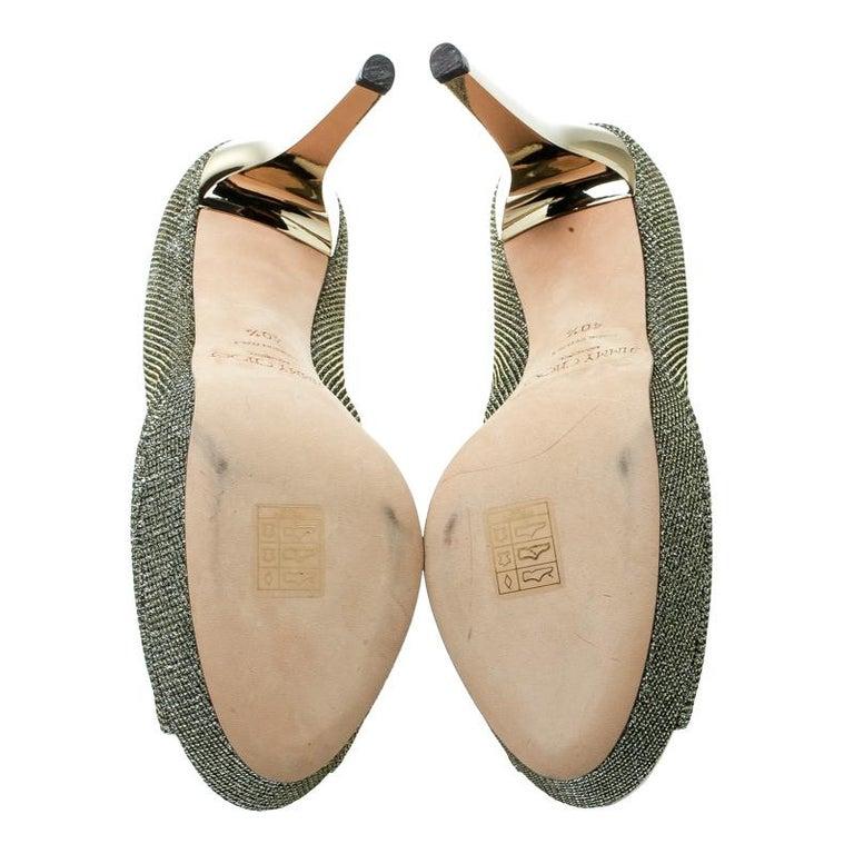 Jimmy Choo Metallic Champagne Glitter Fabric Dahlia Peep Toe Platform Pumps 41.5 For Sale 3