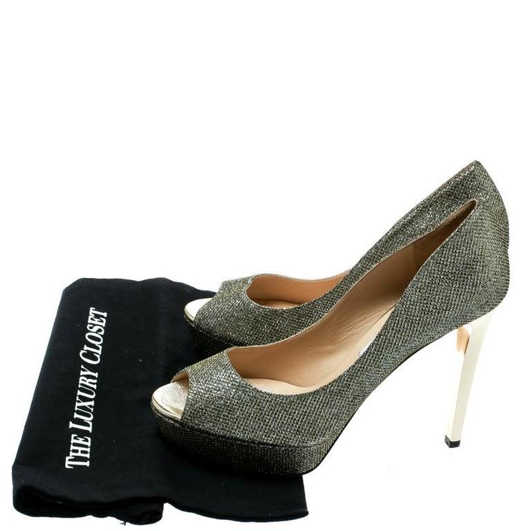 Jimmy Choo Metallic Champagne Glitter Fabric Dahlia Peep Toe Platform Pumps 41.5 For Sale 4