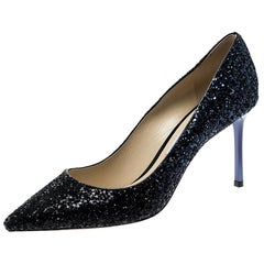 Jimmy Choo Metallic Coarse Glitter Degradé Romy Pointed Toe Pumps Size 40.5
