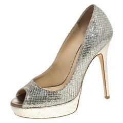Jimmy Choo Metallic Glitter Fabric Dahlia Peep Toe Platform Pumps Size 37