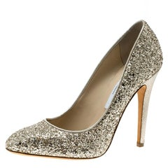 Jimmy Choo Metallic Gold Coarse Glitter Victoria Pumps Size 39
