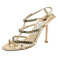 Jimmy Choo Metallic Gold Crystal Embellished T Strappy Sandals Size 36.5