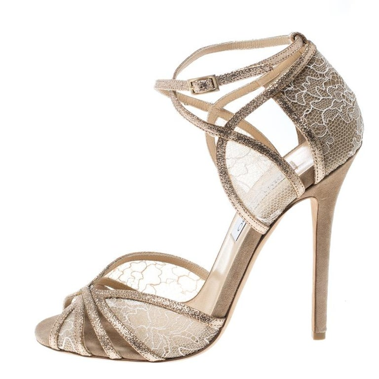91178c51eb6 Jimmy Choo Metallic Gold Glitter and Lace Fitch Ankle Strap Sandals Size  38.5 For Sale 1