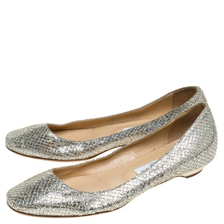 Women's Jimmy Choo Metallic Gold Glitter Fabric Ballet Flats Size 38