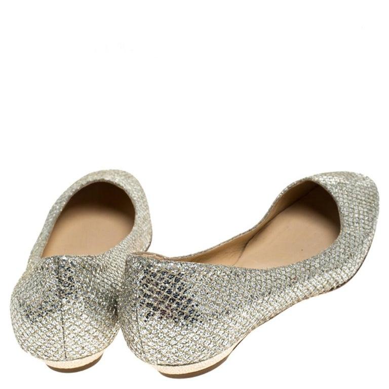 Jimmy Choo Metallic Gold Glitter Fabric Ballet Flats Size 38 1