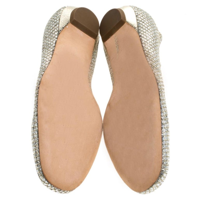 Jimmy Choo Metallic Gold Glitter Fabric Ballet Flats Size 38 2