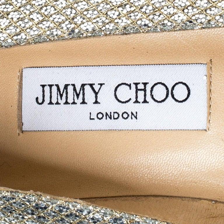 Jimmy Choo Metallic Gold Glitter Fabric Ballet Flats Size 38 3