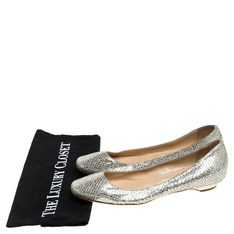 Jimmy Choo Metallic Gold Glitter Fabric Ballet Flats Size 38 4
