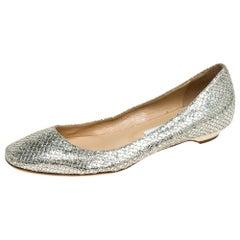 Jimmy Choo Metallic Gold Glitter Fabric Ballet Flats Size 38
