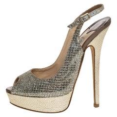 Jimmy Choo Metallic Gold Glitter Leather Peep Toe  Slingback Sandals Size 36