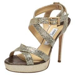 Jimmy Choo Metallic Gold Glitter Strappy Platform Sandals Size 38