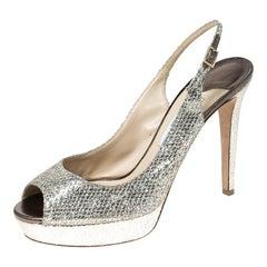 Jimmy Choo Metallic Gold Glitter Verity Peep Toe Slingback Sandals Size 41