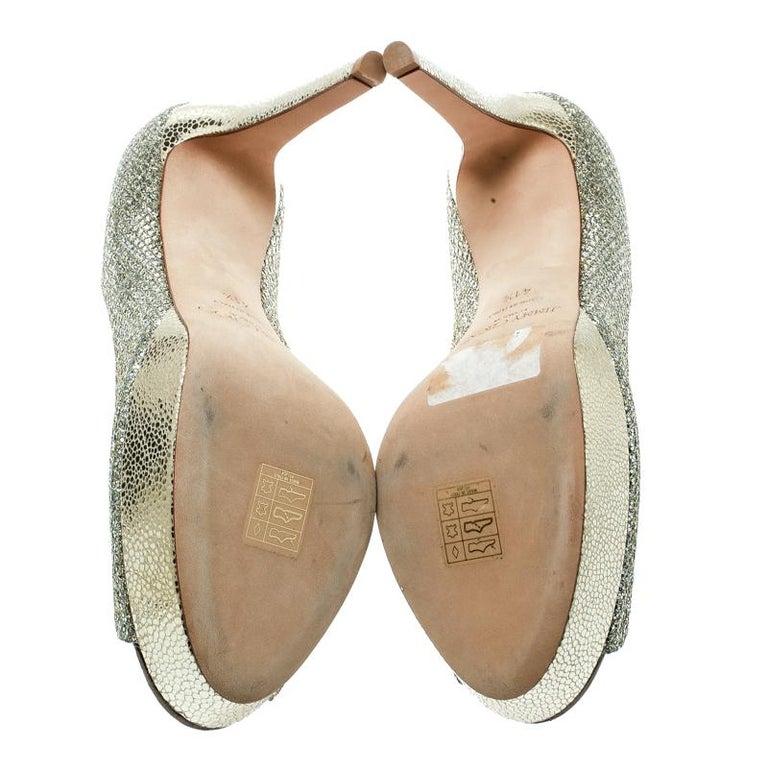 Jimmy Choo Metallic Gold Lamè Fabric Dahlia Peep Toe Platform Pumps Size 40.5 For Sale 1