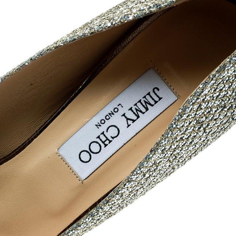 Jimmy Choo Metallic Gold Lamè Fabric Dahlia Peep Toe Platform Pumps Size 40.5 For Sale 3
