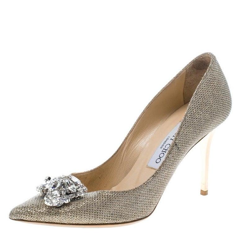 e30f86ea17 HomeFashionClothingShoes. Jimmy Choo Metallic Gold Lamè Glitter Fabric Mamey  Crystal Embellished Pointed T For Sale