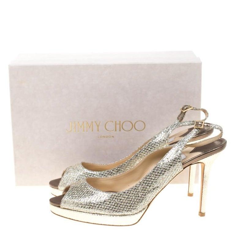 3ecfcf85804 Jimmy Choo Metallic Gold Lamè Glitter Nova Platform Slingback Sandals Size  42 For Sale 4