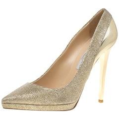 Jimmy Choo Metallic Gold Lamè & Leather Aude Pointed Toe Platform Pumps Size 40