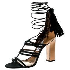Jimmy Choo Metallic Gold Leather Black Satin Block Heel Strappy Sandals Size 40