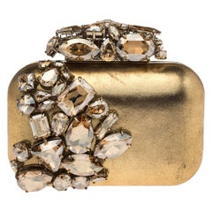 Jimmy Choo Metallic Gold Leather Crystal Embellished Cloud Clutch